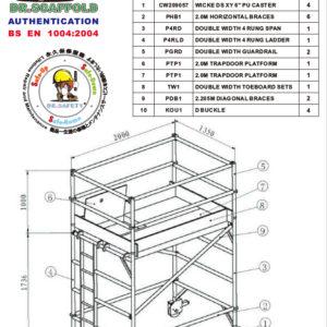 2m Aluminium mobile scaffold
